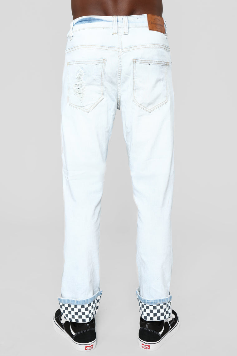 "Check Yo Self 32"" Skinny Jeans - Bleach Blue Wash"