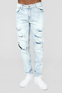 "Tape 30"" Skinny Jeans - Light Blue Wash Angle 2"