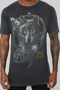 Stay Wild Short Sleeve Tee - Grey