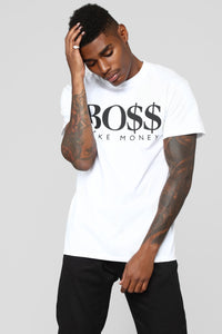 Money Boss Short Sleeve Crew Tee - White