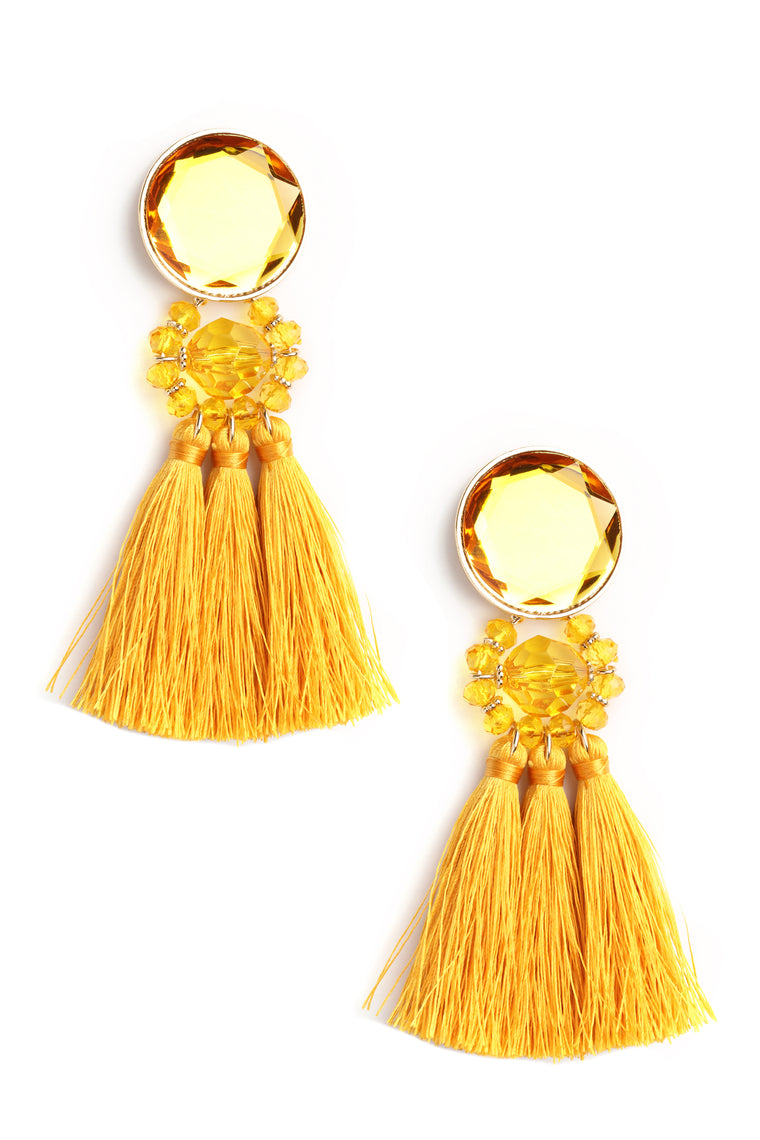Blingy Earrings - Mustard
