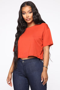 Leslie Cropped Tee - Rust Angle 1