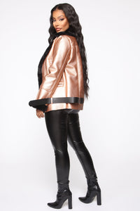 Power Trip Aviator Jacket - Rose Gold/Black