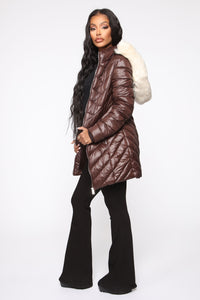 On The Go Puffer Jacket - Brown/Combo Angle 4