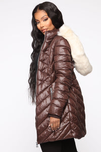 On The Go Puffer Jacket - Brown/Combo Angle 3