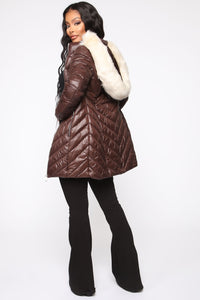On The Go Puffer Jacket - Brown/Combo Angle 5
