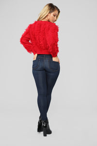 Fringe In Love Sweater - Red