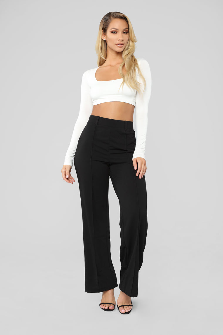 Just Flow With It Flare Pants - Black
