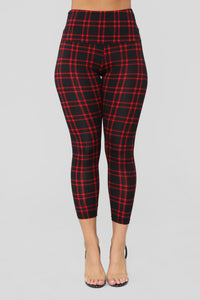 Back To Campus Plaid Leggings - Red Angle 1