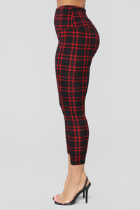 Back To Campus Plaid Leggings - Red Angle 2