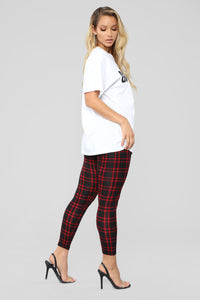 Back To Campus Plaid Leggings - Red Angle 4