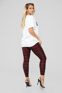 Back To Campus Plaid Leggings - Red Angle 6