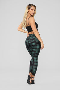 Back To Campus Plaid Leggings - Green