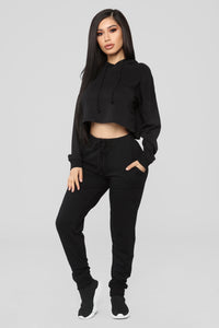 Latest And Greatest French Terry Crop Hoodie - Black Angle 2