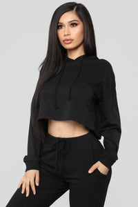 Latest And Greatest French Terry Crop Hoodie - Black Angle 1