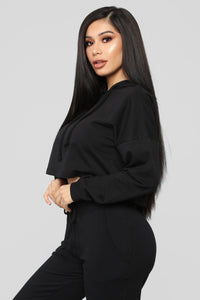 Latest And Greatest French Terry Crop Hoodie - Black Angle 3