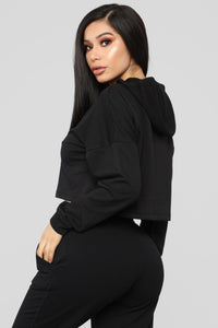 Latest And Greatest French Terry Crop Hoodie - Black Angle 5