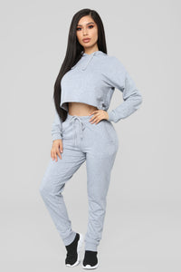 Latest And Greatest French Terry Crop Hoodie - Heather Grey