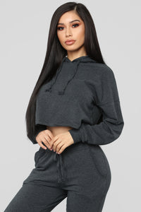Latest And Greatest French Terry Crop Hoodie - Charcoal
