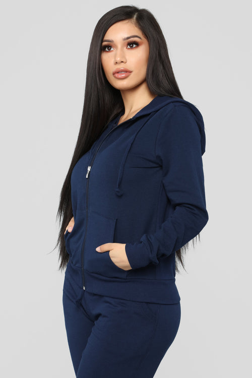 Latest And Greatest French Terry Zip Hoodie - Navy
