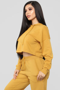 Latest And Greatest French Terry Crop Hoodie - Mustard