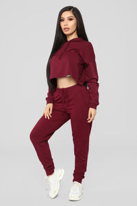 Latest And Greatest French Terry Crop Hoodie - Burgundy