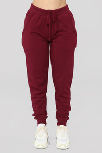 Latest And Greatest French Terry Jogger - Burgundy