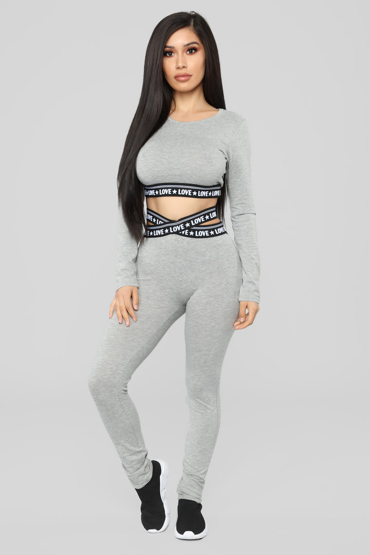 Love Is Tough Lounge Top - Grey