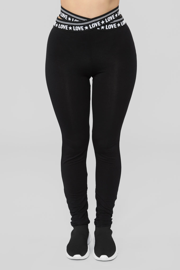 Love Is Tough Lounge Leggings - Black