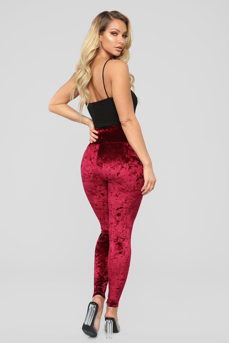 Crush On Velvet Leggings - Burgundy