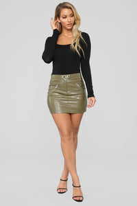 Straight To Voicemail Faux Leather Skirt - Olive Angle 2