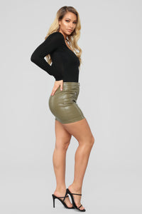 Straight To Voicemail Faux Leather Skirt - Olive Angle 3