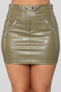 Straight To Voicemail Faux Leather Skirt - Olive Angle 1