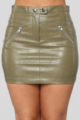 Straight To Voicemail Faux Leather Skirt   Olive by Fashion Nova