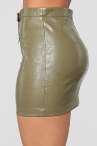 Straight To Voicemail Faux Leather Skirt - Olive Angle 4