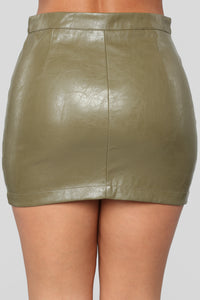 Straight To Voicemail Faux Leather Skirt - Olive Angle 6