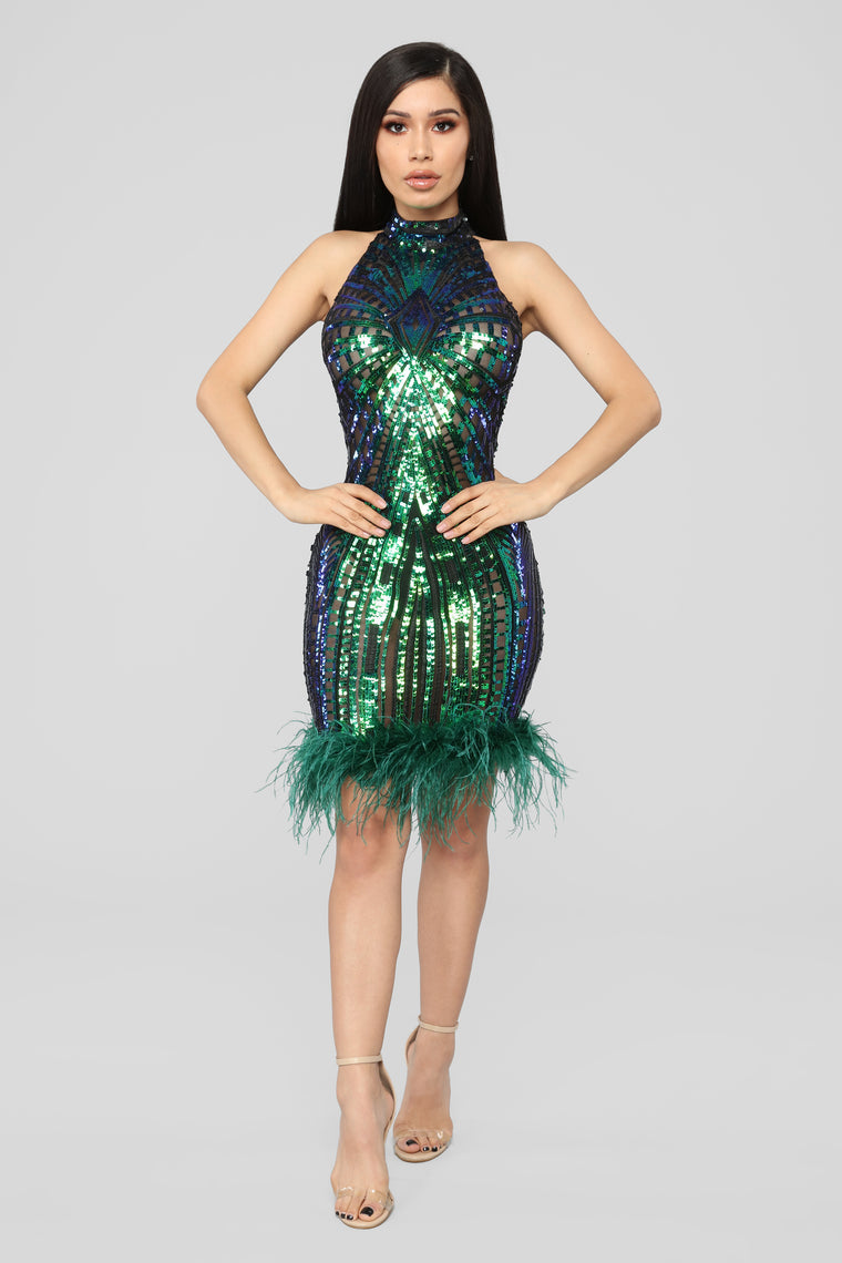 Crowd Pleaser Sequin Dress - Blue/Green