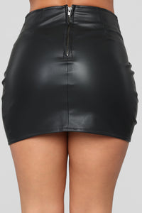 In A Love Affair Faux Leather Skirt - Black