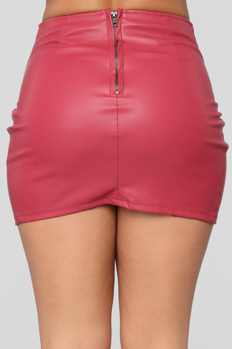 In A Love Affair Faux Leather Skirt - Wine
