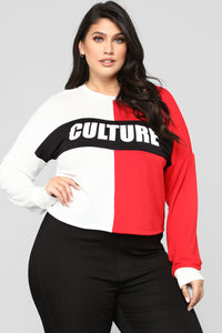 Know Your Culture Top - Red/Combo Angle 6