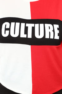 Know Your Culture Top - Red/Combo Angle 7