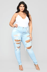 Live Let Live Skinny Jeans - Light Blue Wash Angle 7