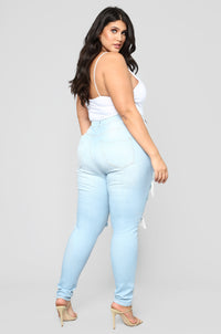 Live Let Live Skinny Jeans - Light Blue Wash Angle 11