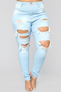 Live Let Live Skinny Jeans - Light Blue Wash Angle 8