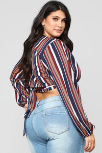 Put You In Line Stripe Crop Top - Navy