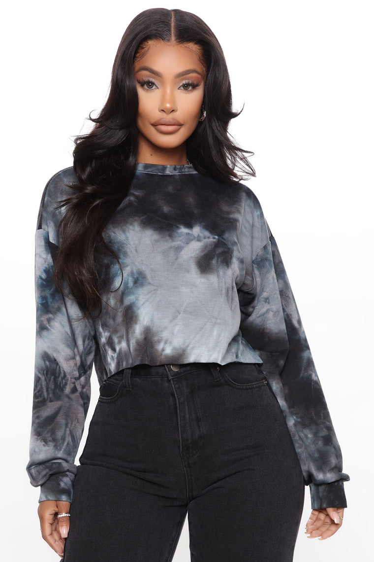 Cutting Ties Dye Cropped Sweatshirt - Black/combo