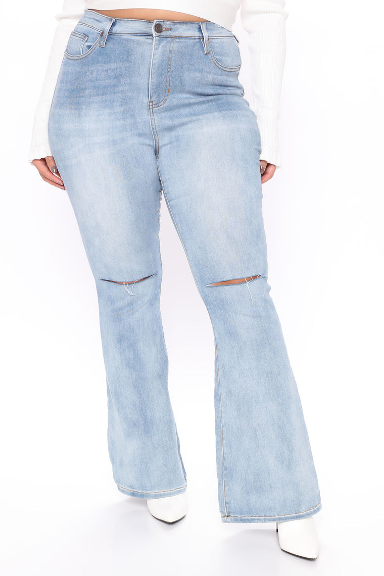 I'll Be There Flare Jeans - Medium Blue Wash