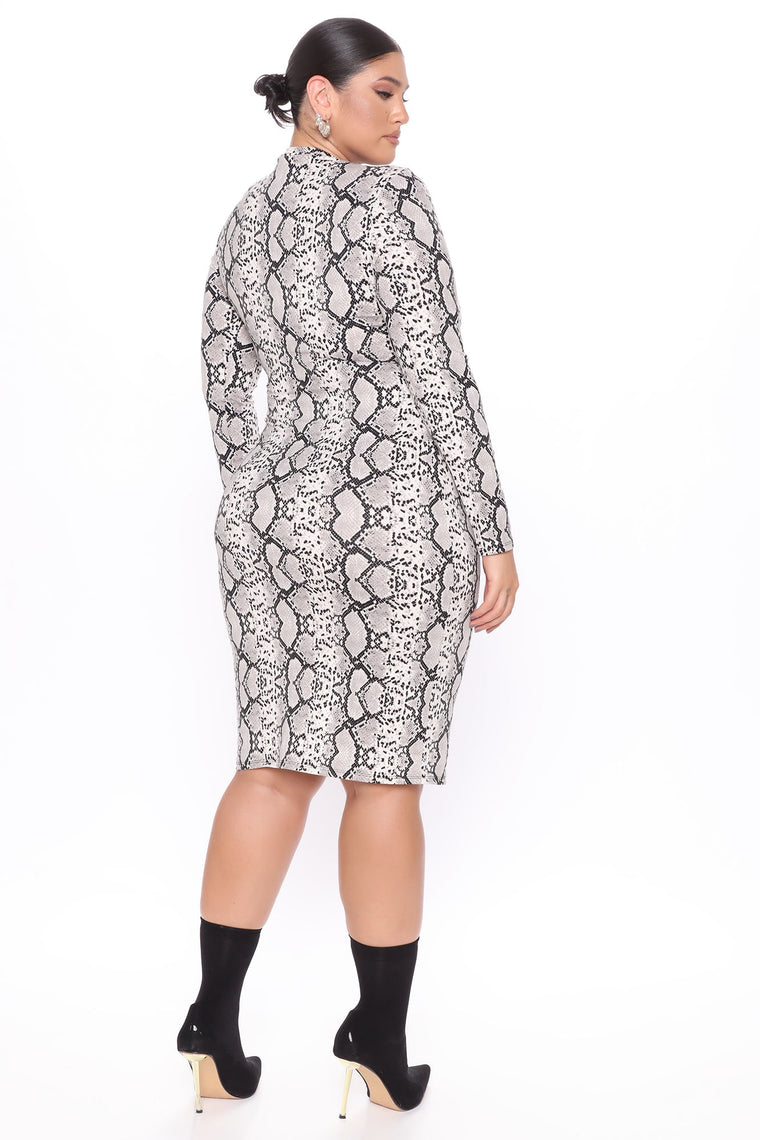 Feelin It Midi Dress - Grey/combo