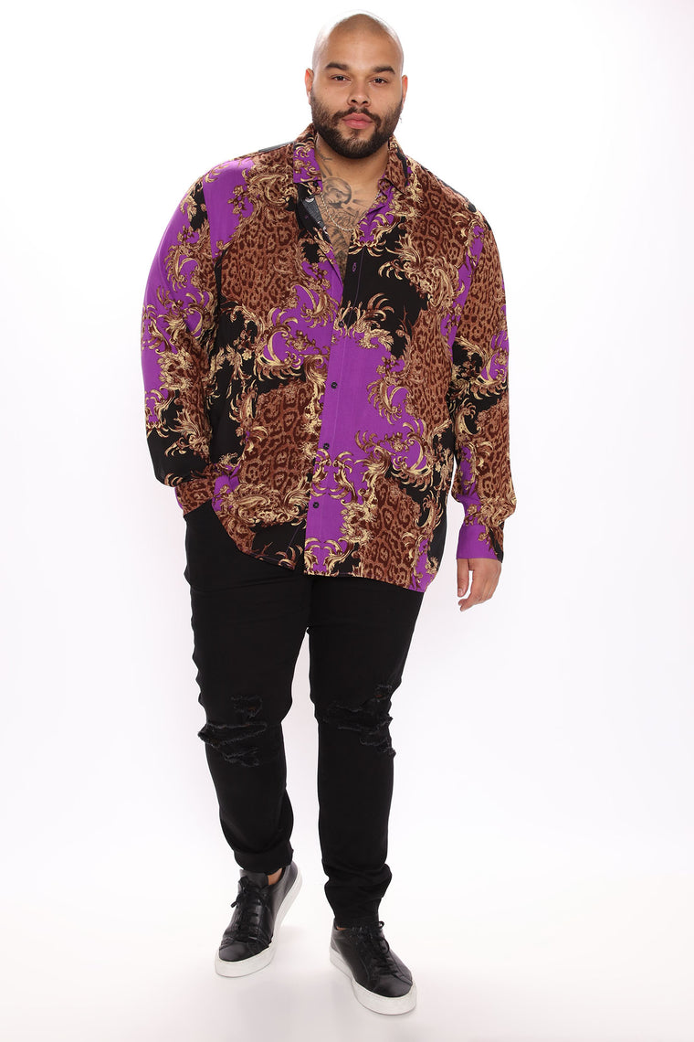 Bari Long Sleeve Woven Top - Black/Purple