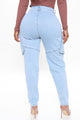 Hold On Tight Cargo Mom Jeans - Light Blue Wash